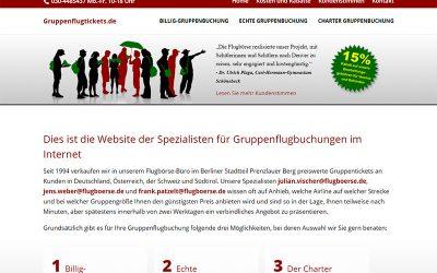 Responsive Webdesign für gruppenflugticket.de