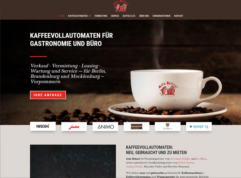 Asta Bohne!  Kaffee Automaten für Firmen, Gastronomie und Events